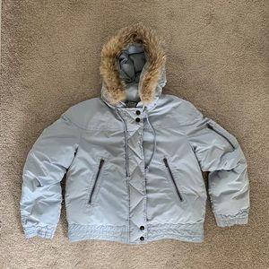Michael Kors Kids Blue Fur Hood Jacket